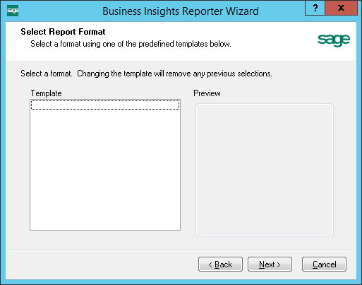 Business Insights Reporter Wizard Missing Template