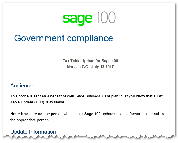 Sage 100 Tax Table Update 7 12 2017