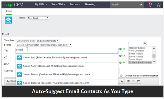 Sage CRM Auto Suggest Email Contacts